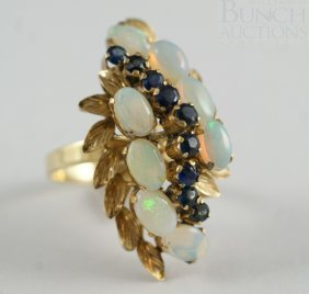 14K YG Opal And Sapphire Ladies Ring, Size 6 1/2,