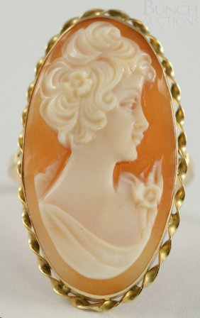 """14K YG Carved Cameo Ring, 1 1/4"""" X 5/8"""", Size 8 1"""