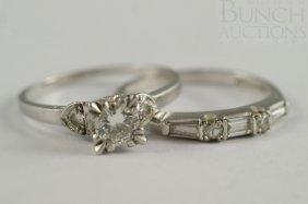 (2) Platinum Ladies Diamond Rings, One W/30-35 Pt