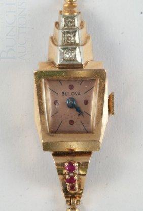 14K Rose Gold Bulova Ladies Art Deco Wristwatch,