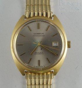 18K YG Gubelin Mans Chronometer Wrist Watch With