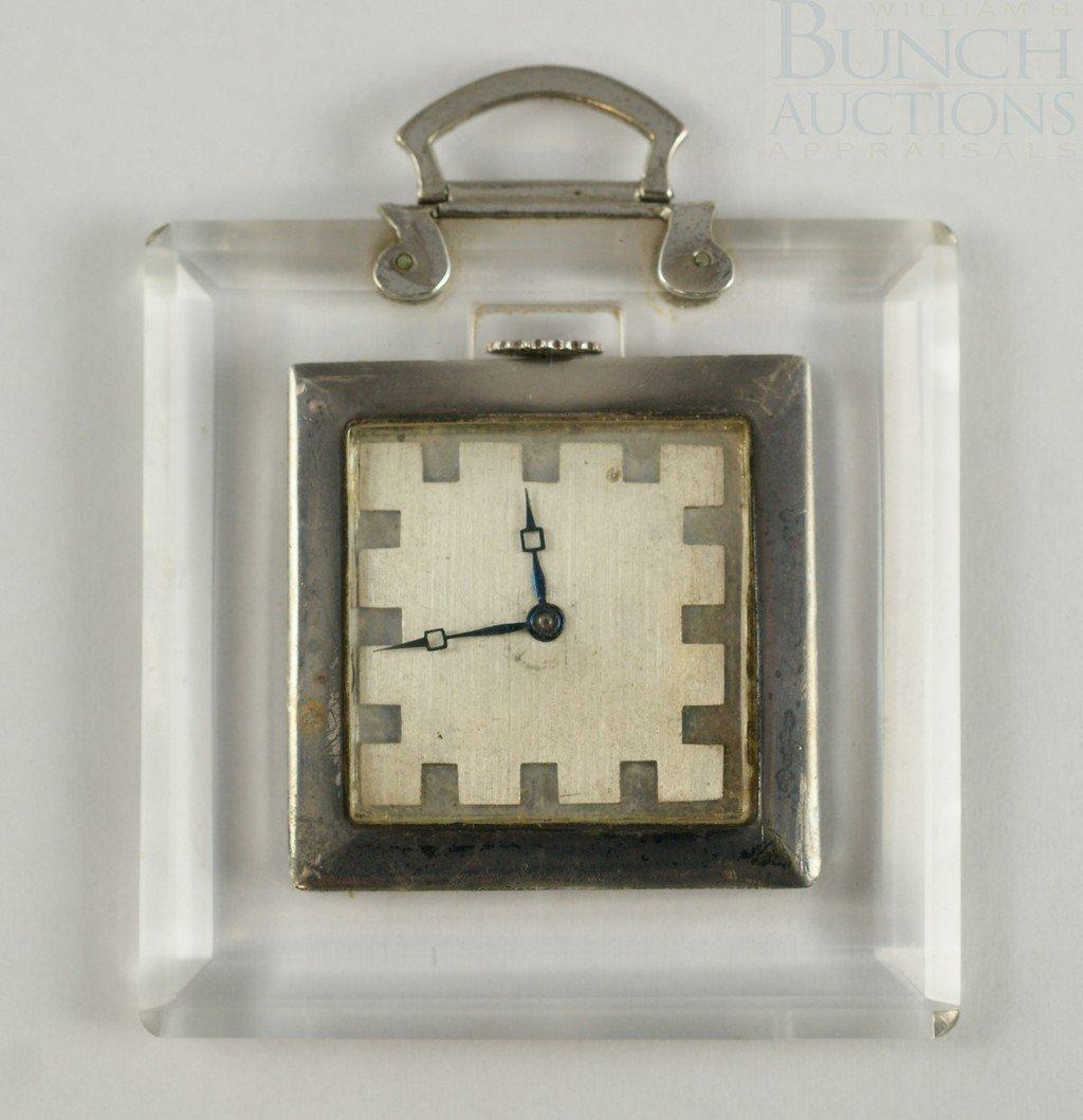 4097: Sterling and Lucite handbag pocket watch, movemen