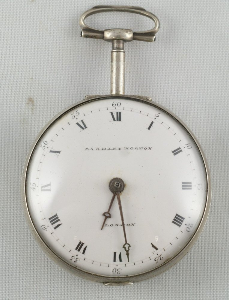 4100: Silver key wind fusee pocket watch by Eardley Nor