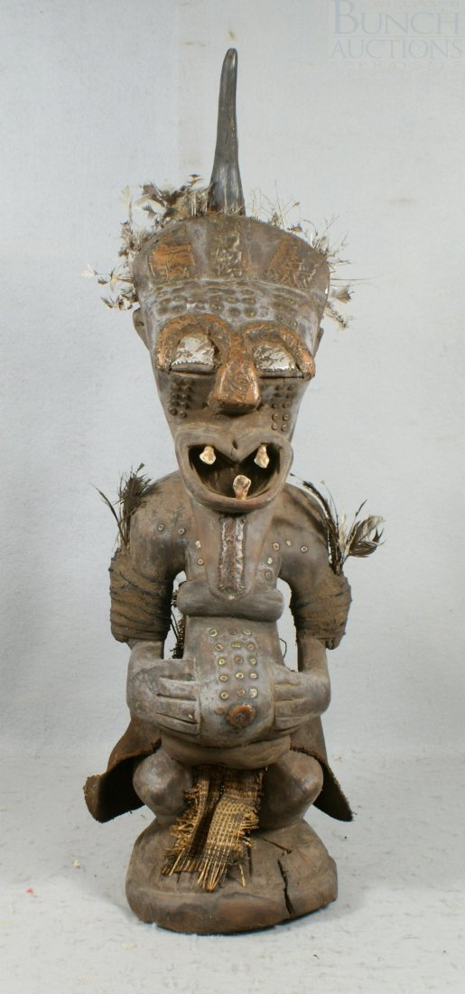 """4284L: African Carved Wood Statue, approx 28"""" high"""