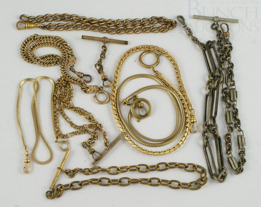 4100B: Lot 10 YGF& base metal watch chains