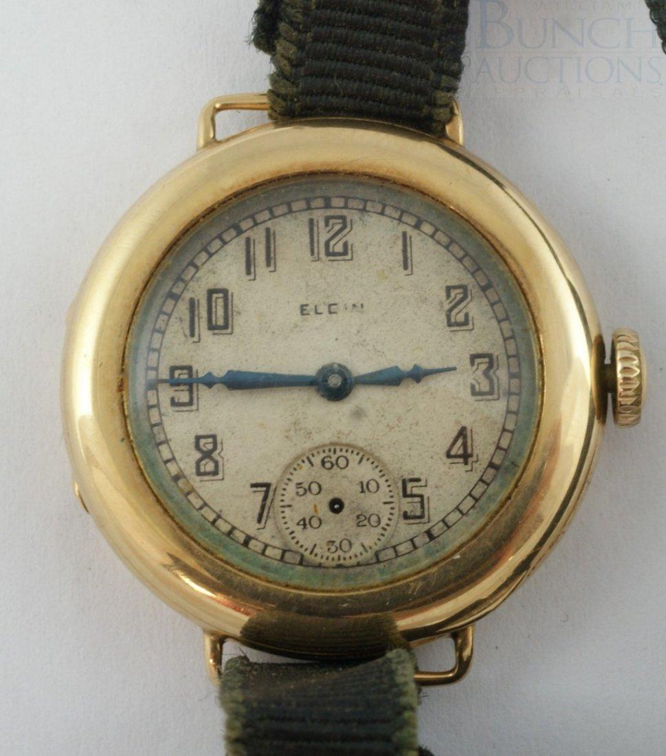 4100D: Elgin 14K YG ladies wrist/pocket watch, cloth ba