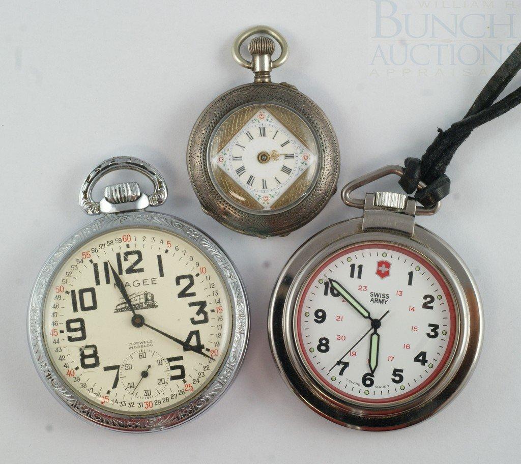 4100E: (3) pocket watches, Magee 17 j Incablock Railroa