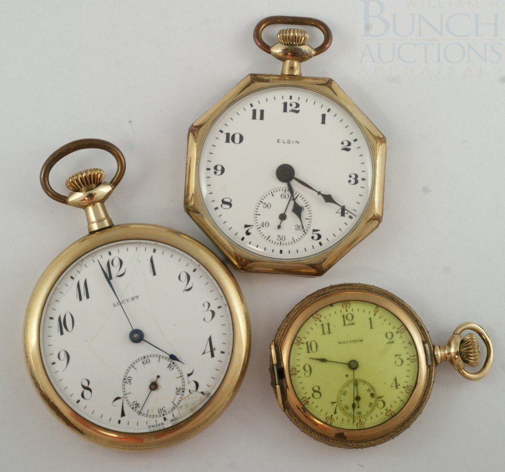 4100F: (3) YGF  pocket watches, octagonal OF Elgin, SN