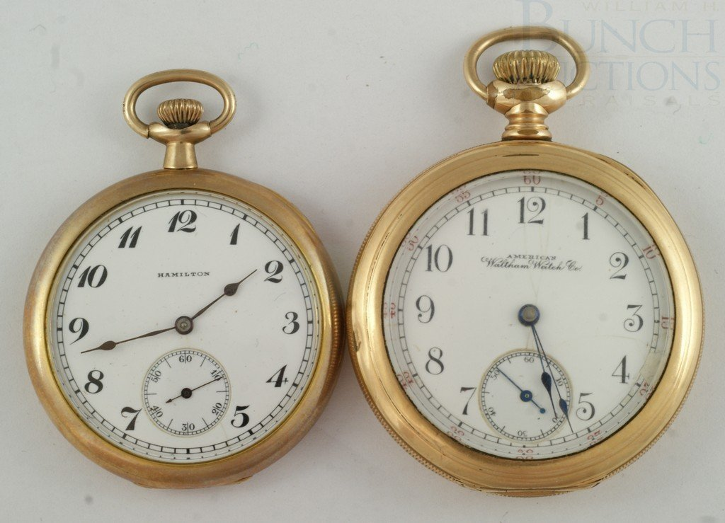 4100G: (2) YGF OF pocket watches, American Waltham, 16S