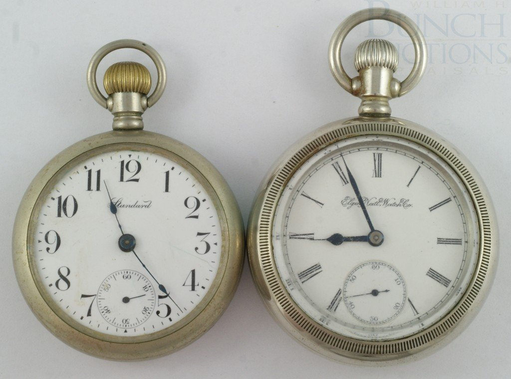4100I: (2) silveroid OF  pocket watches, American Walth