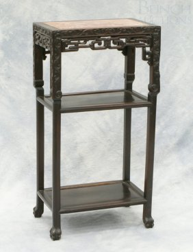 Chinese Rectangular Marble Top Taboret Stand, 17""