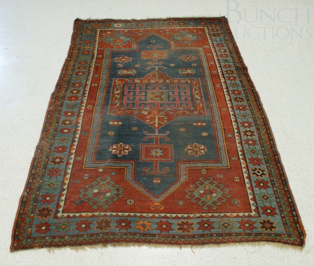 "4011: 4'10"" x 7'4"" Kazak, losses to ends, evenly worn"