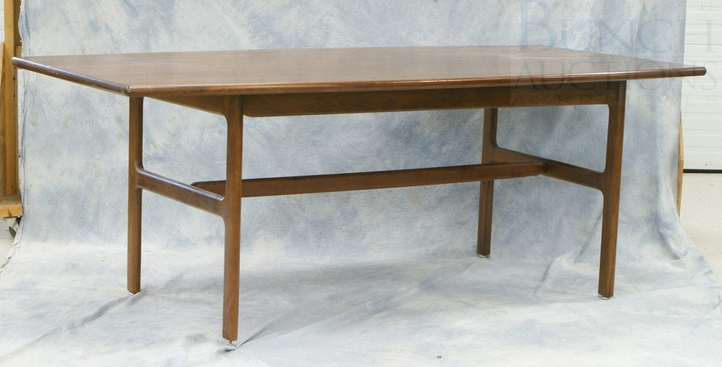"4194: Walnut modern design DR table, 79"" x 38"", dated 1"