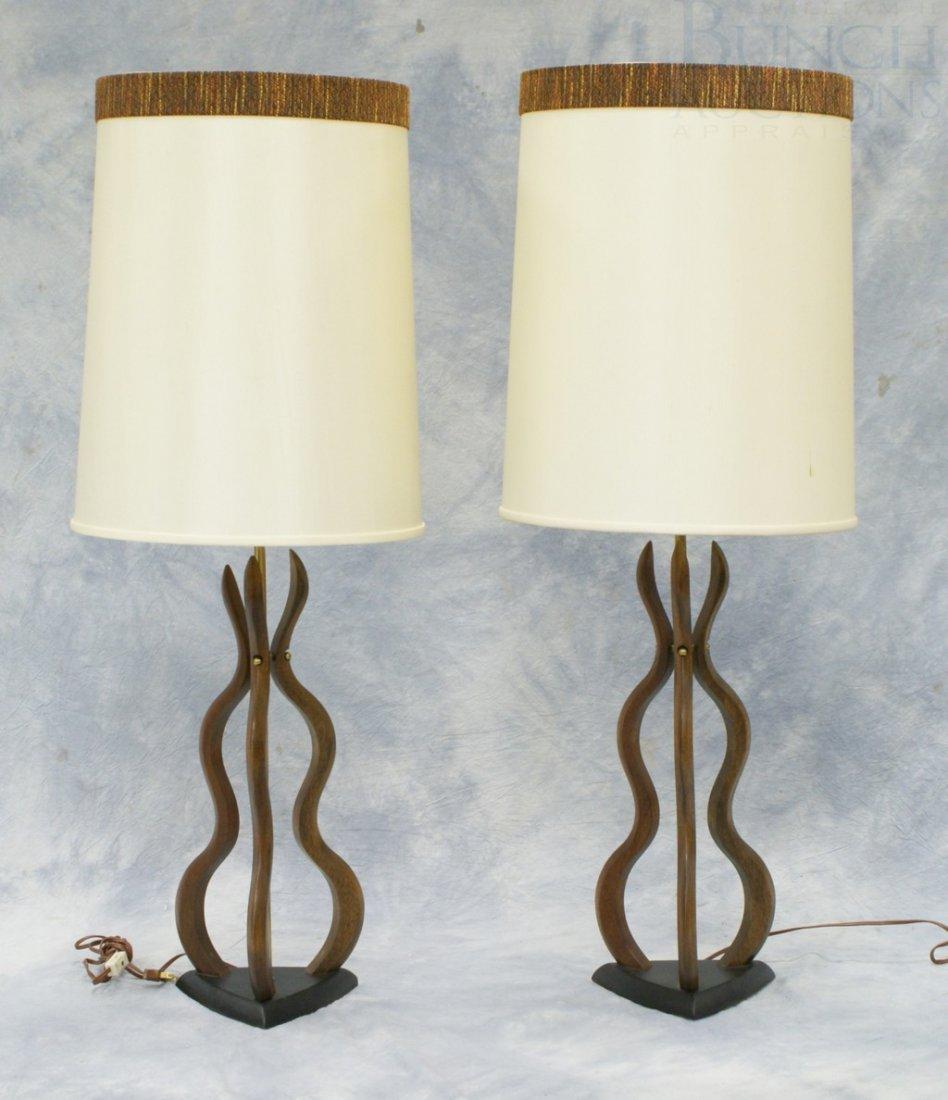 "4206: Pr walnut & brass modern design table lamps, 40"""