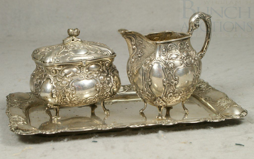 4038: Continental 800 silver creamer and sugar on tray,