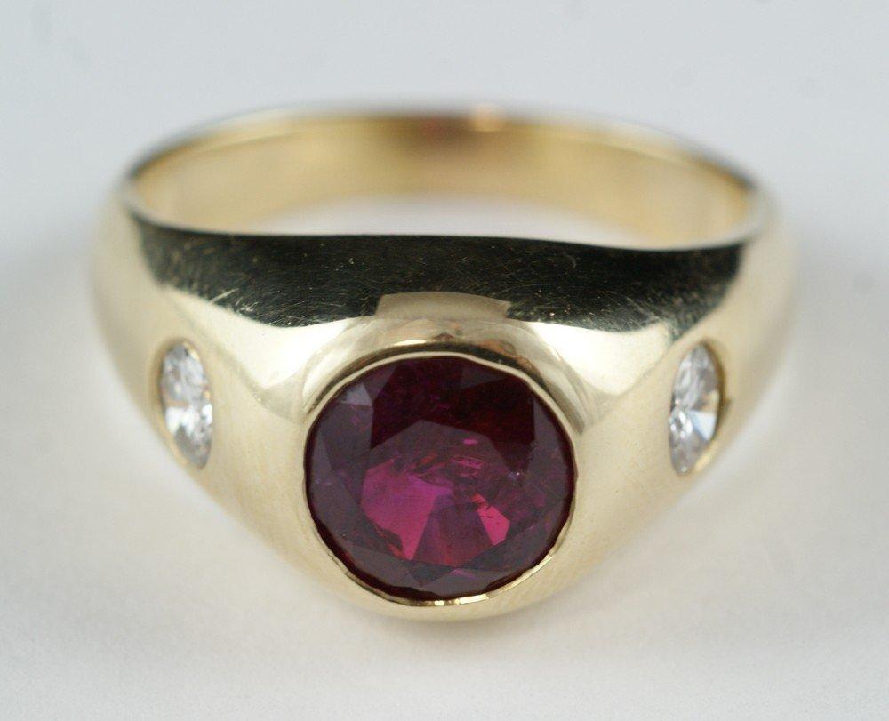 4100Q: 14K YG ruby and diamond man's ring, brilliant &