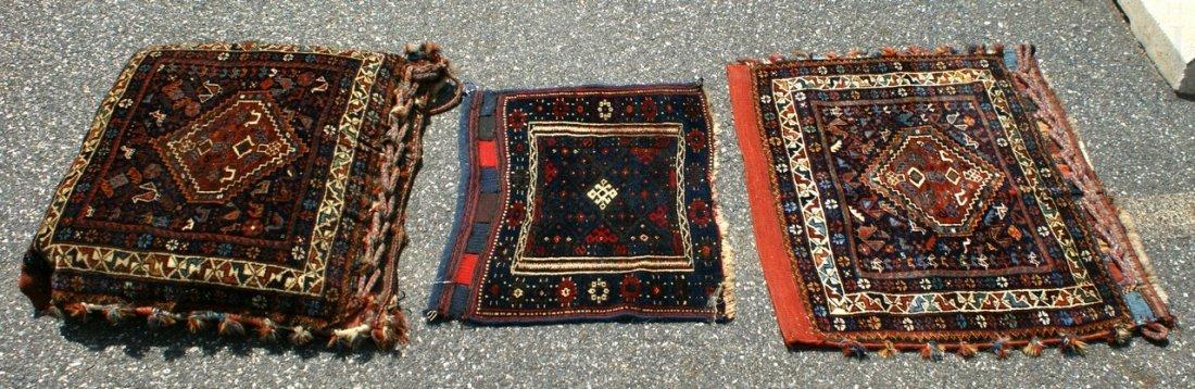 6004: (3) Turkoman saddle bag/bag face/pillow, largest