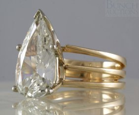 5 1/3 Carat Pear Shaped Diamond Solitaire Ladies Ring