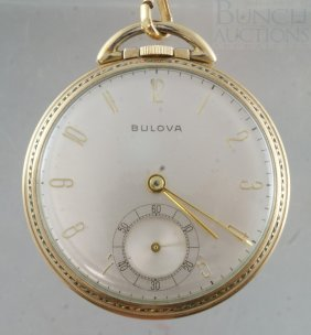 10K YGF Bulova 16s OF Pocket Watch, 17j Unadj Mov