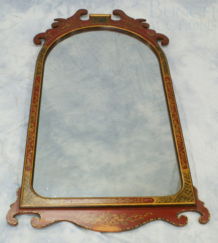 6104A: Red Lacquer Queen Anne style wall mirror with ch