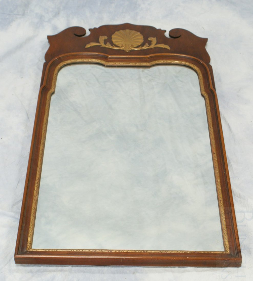 6107A: Kindel Mahogany Queen Anne Style Wall Mirror wit