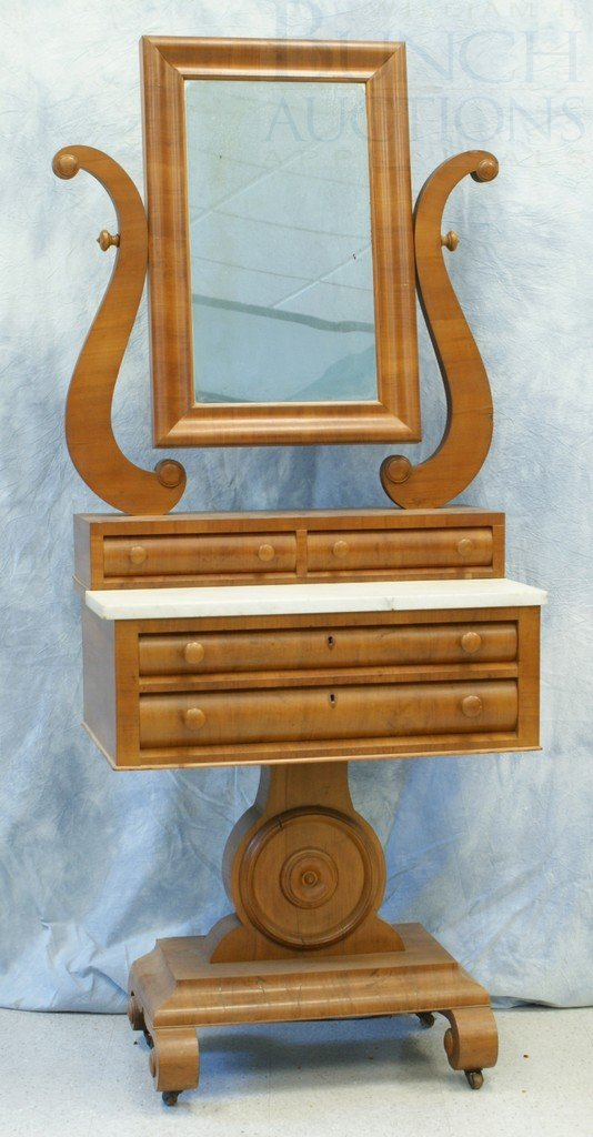 6152A: Mahogany American Federal Dressing Stand with Mi