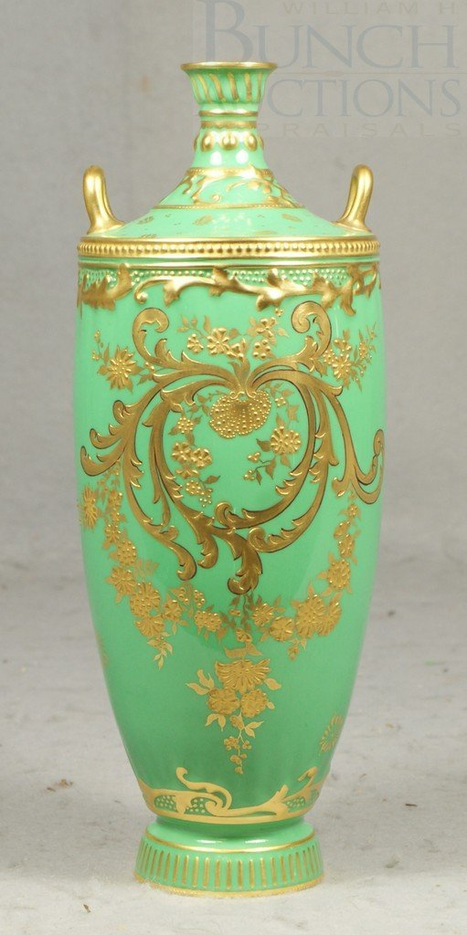 6155: Gilt decorated Royal Crown Derby green vase with