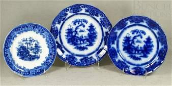6194: 3 pcs flow blue transferware, Kin Shan soup bowl,