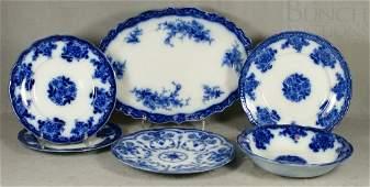 6196: 6 pcs flow blue transferware, 3 Waldorf plates, W