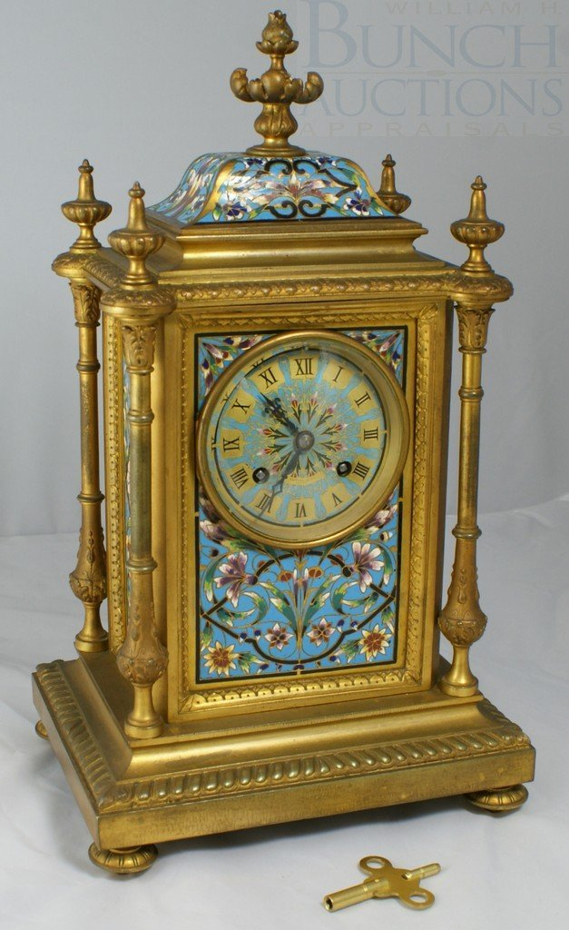 6356: Gilt Bronze and Champlevé French Mantle Clock, mo