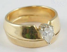 14K YG Ladies Diamond Engagement Ring, Pear Shape