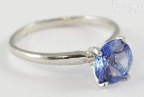 14K WG Tanzanite Ladies Ring, Size 6 3/4, 1.3 Dwt