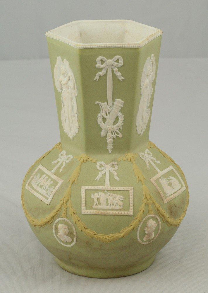 6148: 3 color Wedgwood vase, hexagonal neck, paneled bo