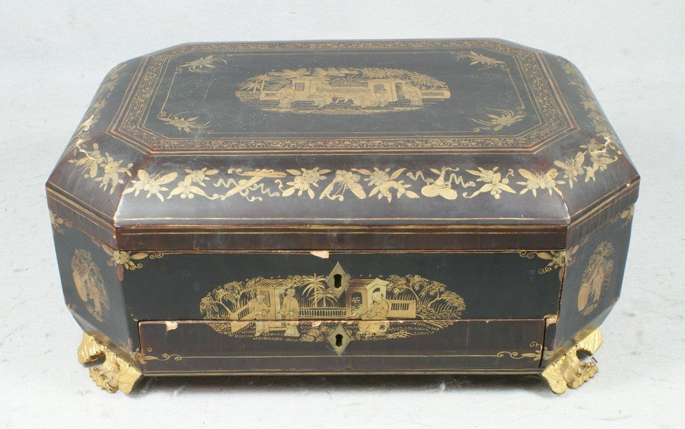 6345: Chinese Export Black lacquer sewing box, with