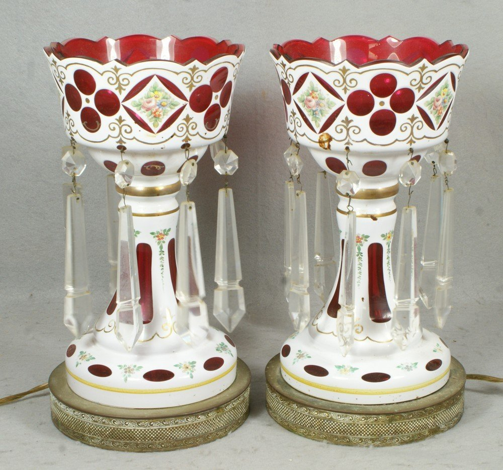 6101: White cut to cranberry cased glass lusters with i