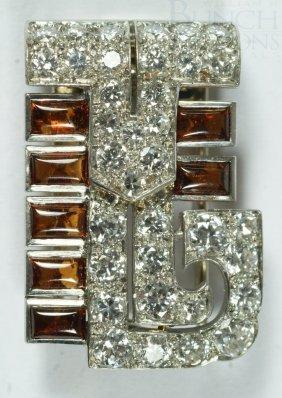 Cartier Platinum, Diamond, And Citrine(?) Clip, 3