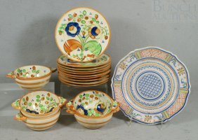 Quimper Plate Together With 15 Pcs Of Japanese Po