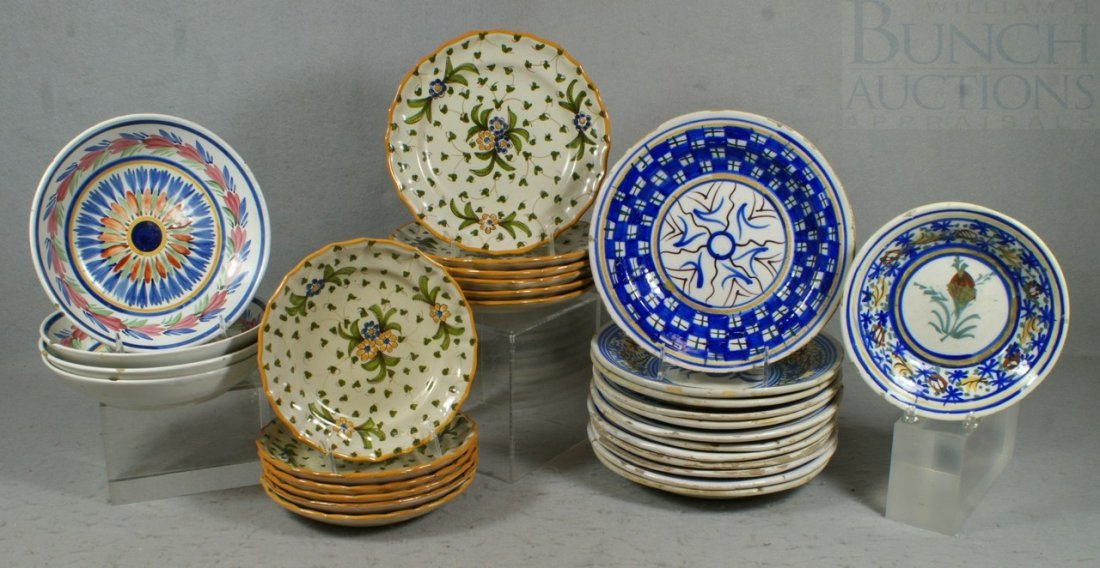 6140: 29 pcs of Continental pottery, to include 4 Quimp