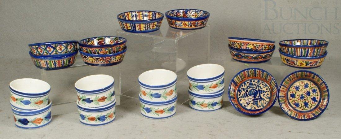 6142: 20 pcs of pottery, 8 Quimper custard bowls togeth