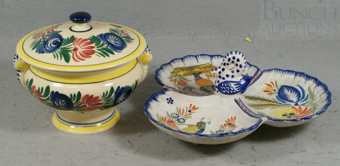 6143: 2 pcs of Quimper pottery, a covered bowl (approx