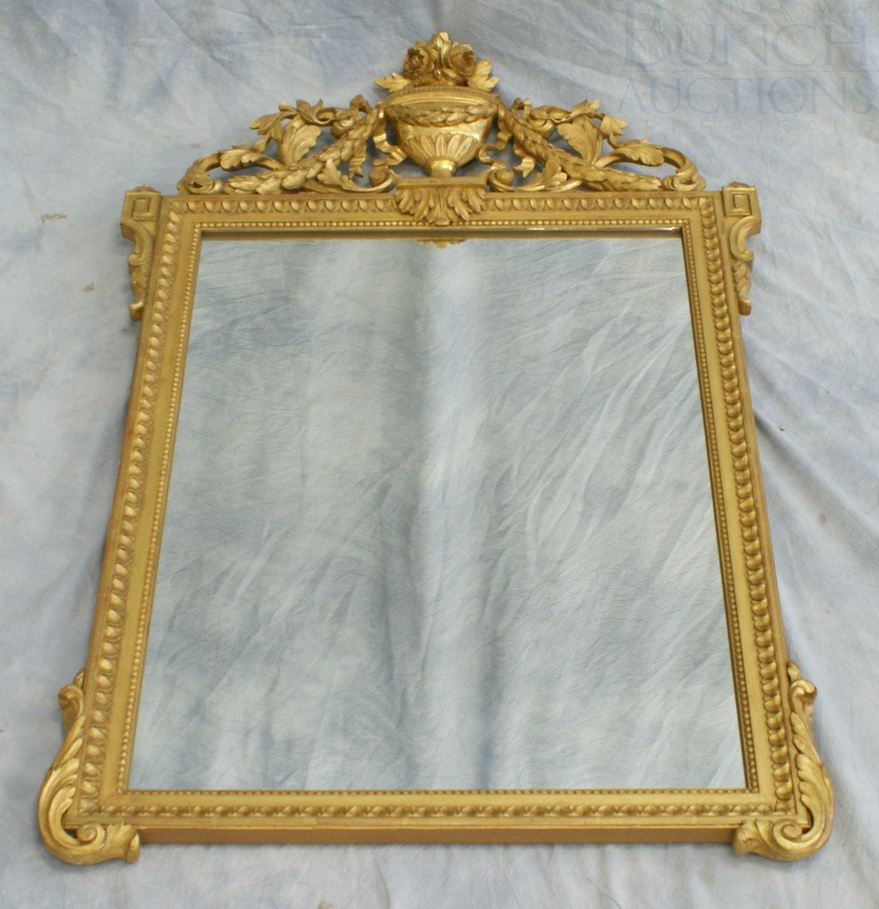 6102A: Louis XVI style carved & gilt wood mirror, custo