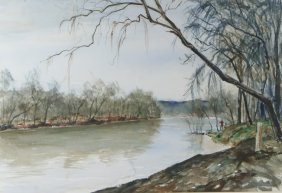 Metzler, Watercolor Landscape With Fishermen, Sig
