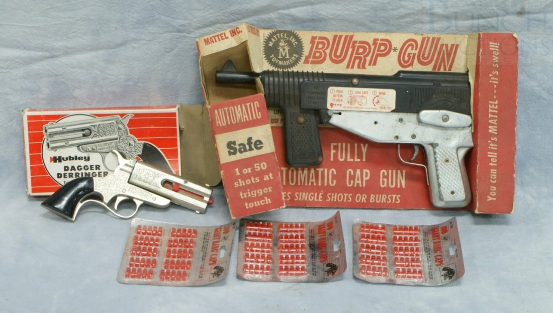 7063: Mattel Burp Gun Fully Automatic Cap Gun with 3 pa