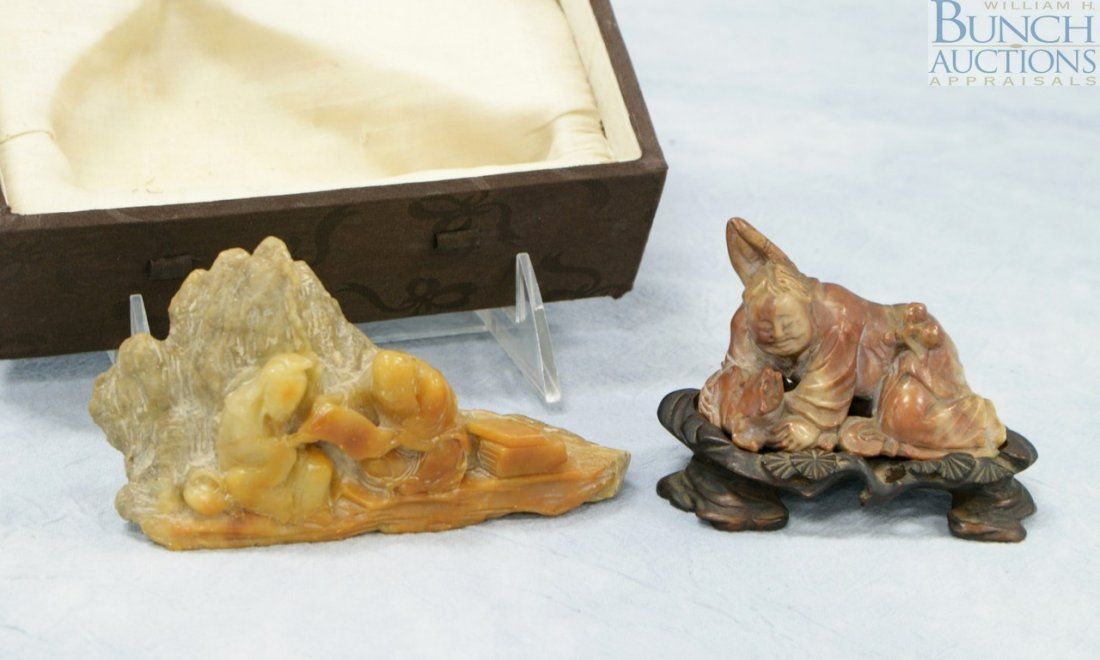 2 Chinese carved soap stone pcs. A figural group