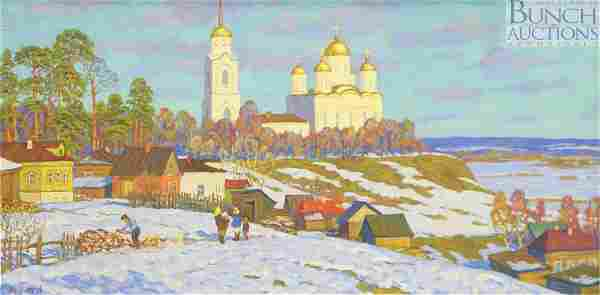Anatoly Kuvin, Russian, 20th c, o/c, Church in a