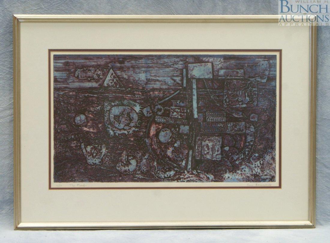 "9804: Ann Brenshill, color collograph, ""The Flood"", 2/3"