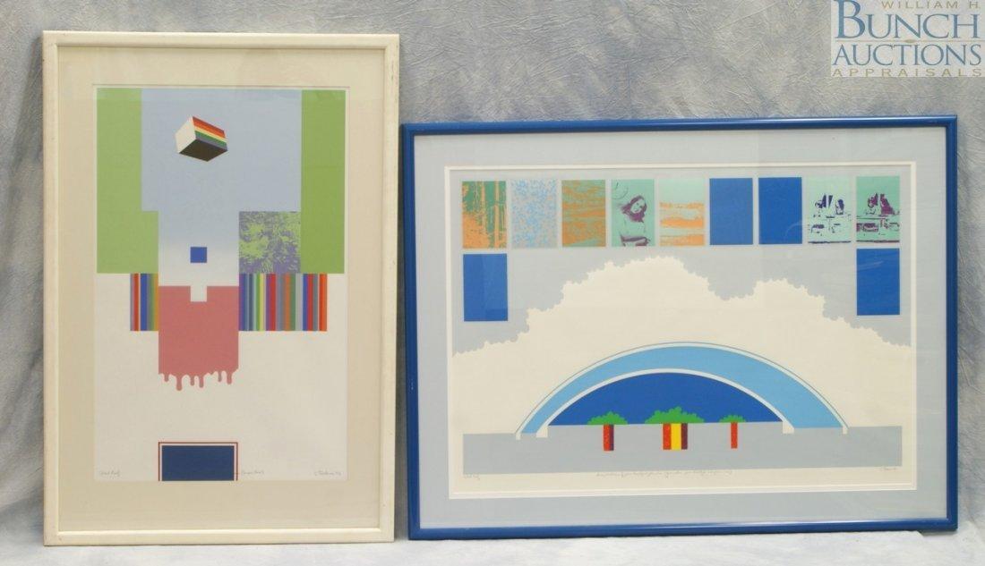 9811: (2) Charles Deschner silkscreens, American, silks