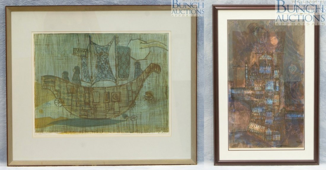 9817: (2) Prints, AP Baker, American, AP, lithograph, 7