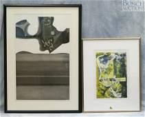 9852 2 items Marie J Keane American oil monotype
