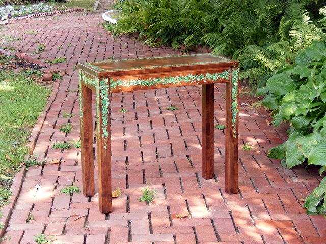 7: Stained Console Table with Ivy Design by Amory Stedm